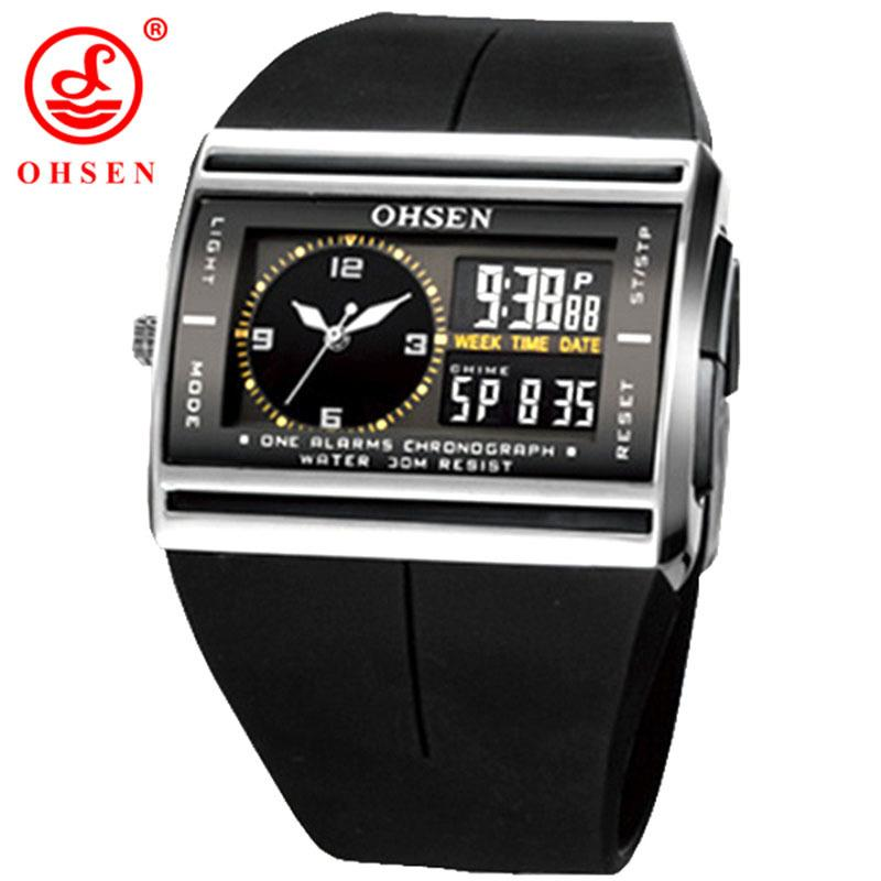 OHSEN Brand LCD Digital Dual Core Watch Waterproof Outdoor Sport Watches Alarm Chronograph Backlight Black Rubber Men Wristwatch LY191213