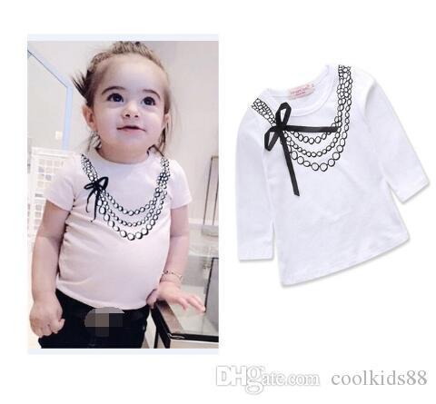 Осень с длинным рукавом хлопок t-рубашка девочка одежда белый топы милый малыш девочек причинно дети одежда дети футболка девушки