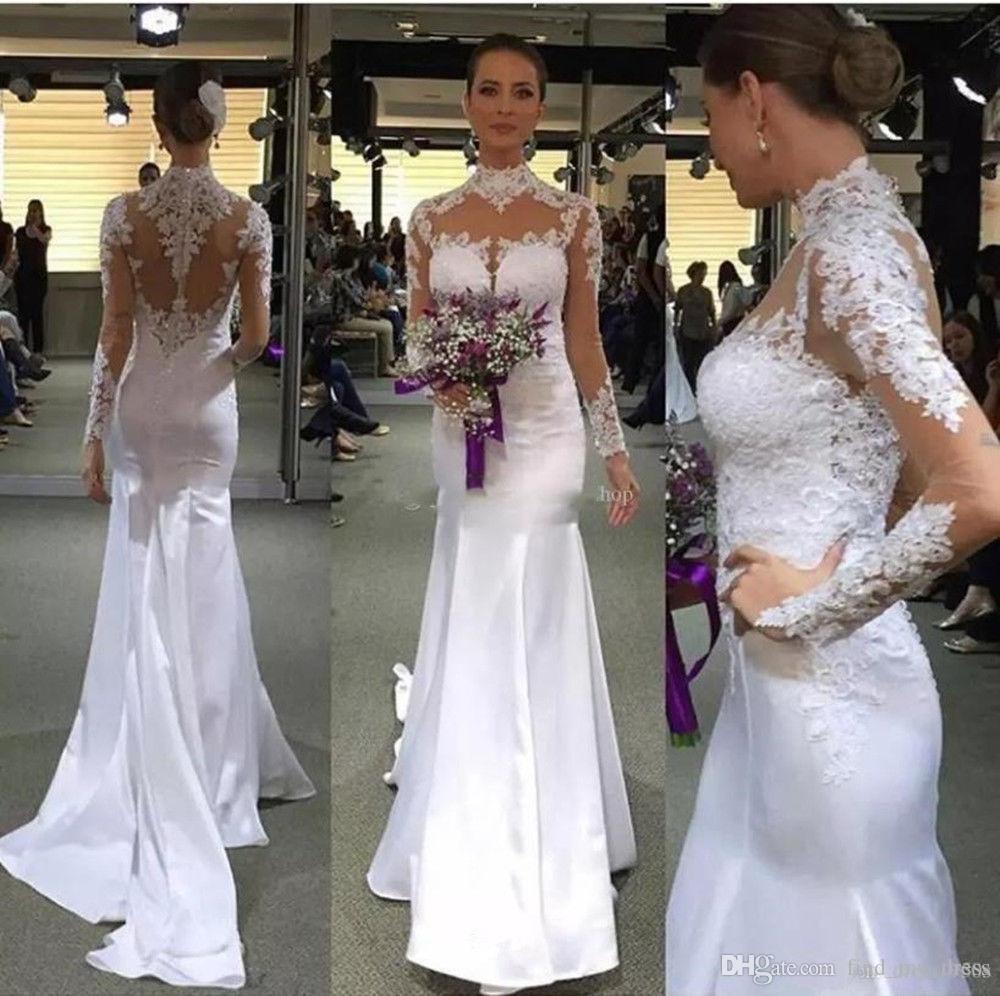 Bescheidenen muslimischen Kristallperlen durchsichtig hohe Kragen Spitze lange Illusion Ärmel Meerjungfrau Brautkleid elegante handgemachte Applikationen Hochzeitskleid