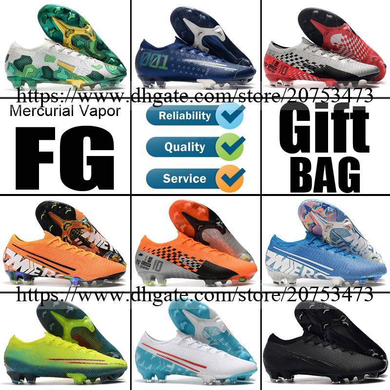 New 2020 Mercurial Vapors 13 12 FG Spikes ACC Soccer Football Shoes Mens CR7 Ronaldo Neymar Mbappe Socks Soccer Cleats Football Boots 39-46