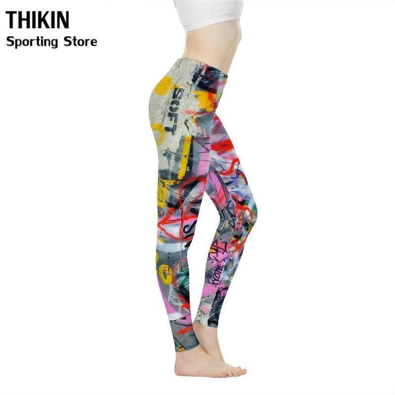 THIKIN Gym Yoga Pants for Women New Fashion Graffiti Style Seamless Dancing Leggings Ladies High Waist Yoga Tight Pants
