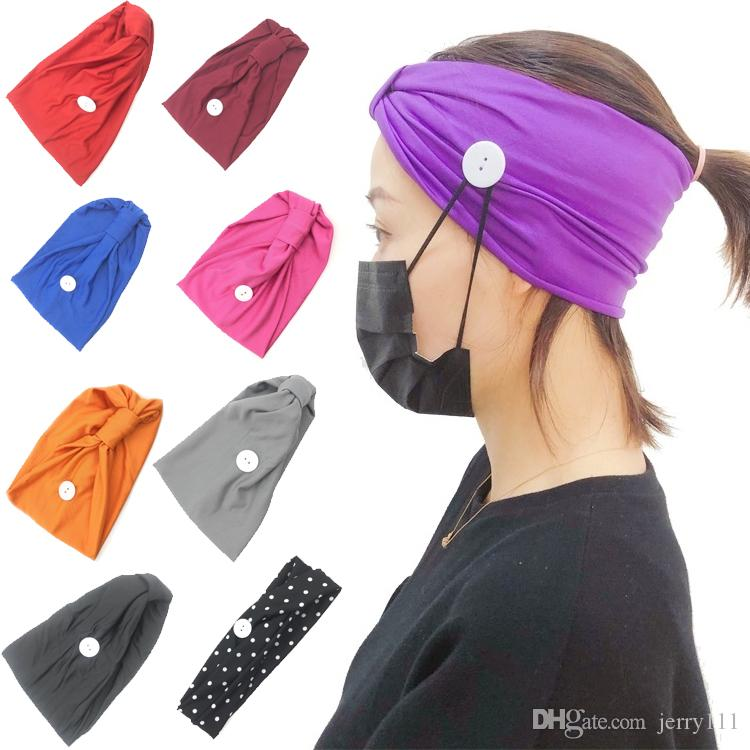 9 couleur Masque contour d'oreille Serre-tête Masque Visage Boucle oreille élastique serre-tête oreille Sports Porte-Longe bandeau avec boutons bandanas JJ355
