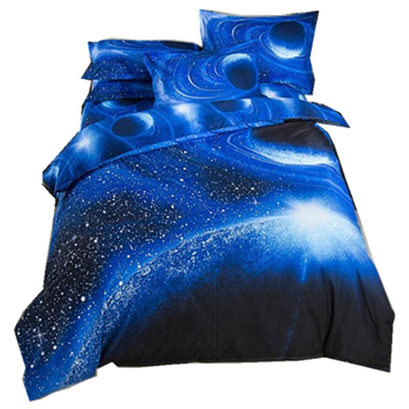 Fantasia Galaxy 3D Impresso Bedding Sets Cor Azul Modern Bedclothes lixar edredon cobrir gêmeo Full Size XF102J5