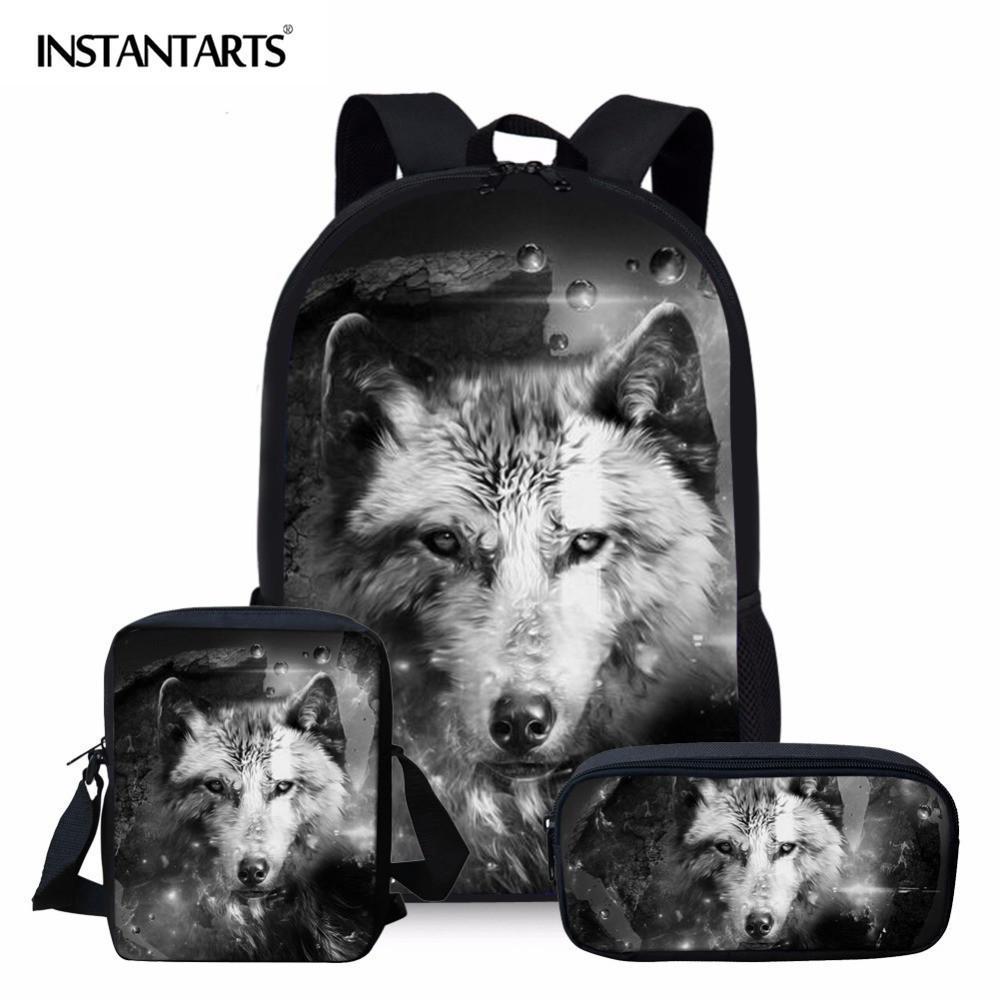 Instantarts 3d lupo zaino per la gioventù ragazza ragazzo mochila studente zainetto modello animale fresco uomini set bagpack bambini bookbags j190522