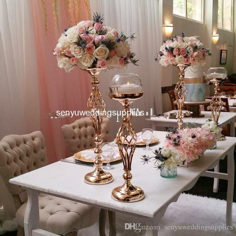 cuanto más cantidad, el precio más barato) Wedding Gold Candle Centerpiece Vases For Wedding Centerpiece floral stand tabe decor senyu0186