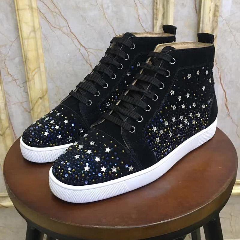 Spor ayakkabılar Yüksek Üst Dikenler Kırmızı Erkekler Kadınlar Düğün parıltı Deri Alttan Çivili Flats Ayakkabı siyah bağcıklı Casual Ayakkabı kırmızı edilir Tasarımları