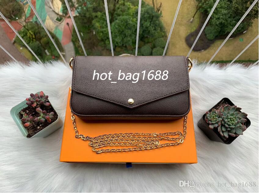 2019 Classic Women Designer Printing Flowers 3 in 1 Chain Bag Leather Wallet Card Crossbody Purse Shoulder Messenger Wallets Handbag