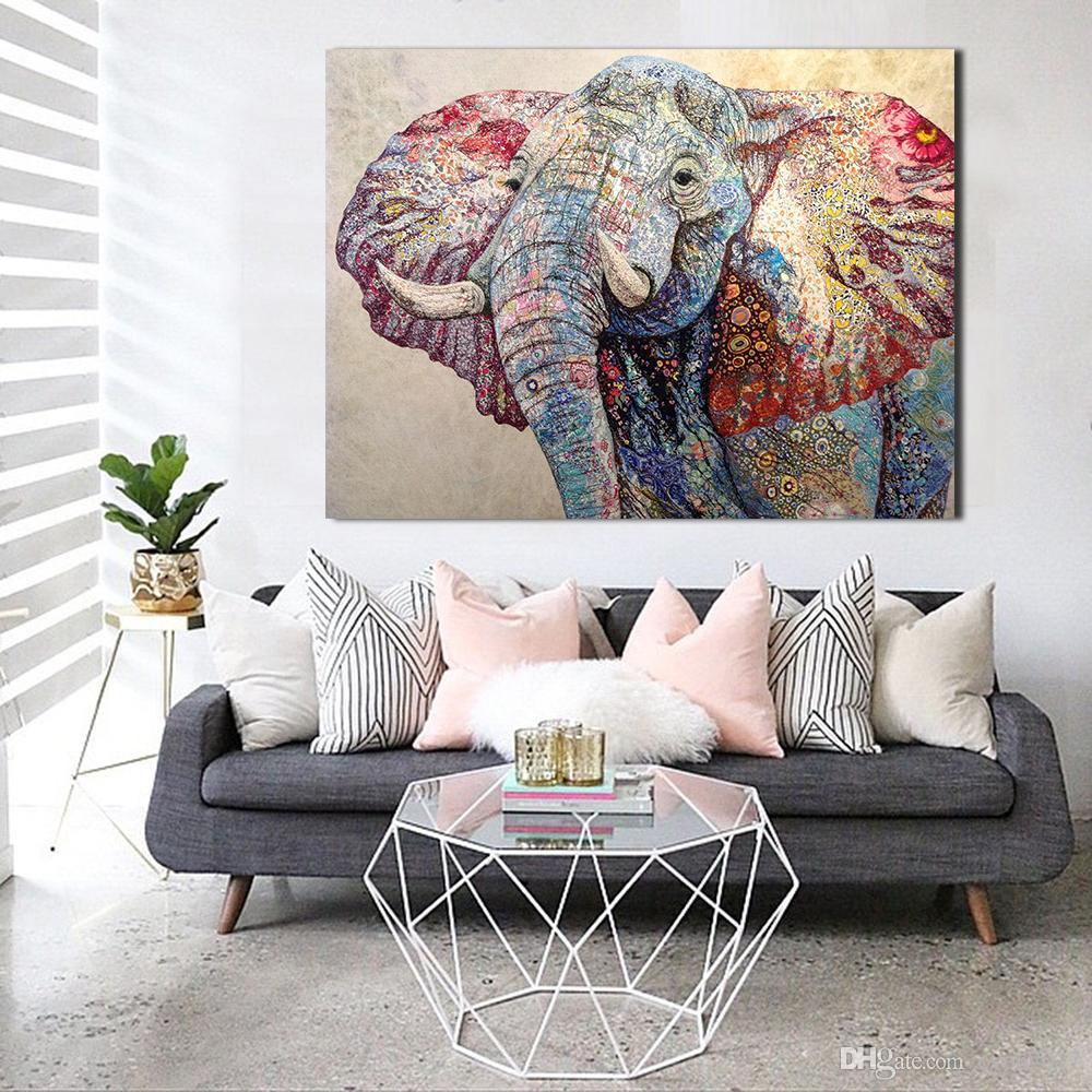 JQHYART Pinturas Na Lona Animal Imagem Colorido Elefante Modern Home Decor Wall Pictures Para Sala de estar Sem Moldura Arte