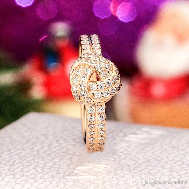 НОВЫХ женщин 18K розовое золото CZ бриллиантовое кольцо Set Первоначально коробка для Pandora Real 925 Silver Luxury Fashion Wedding Gift Ring
