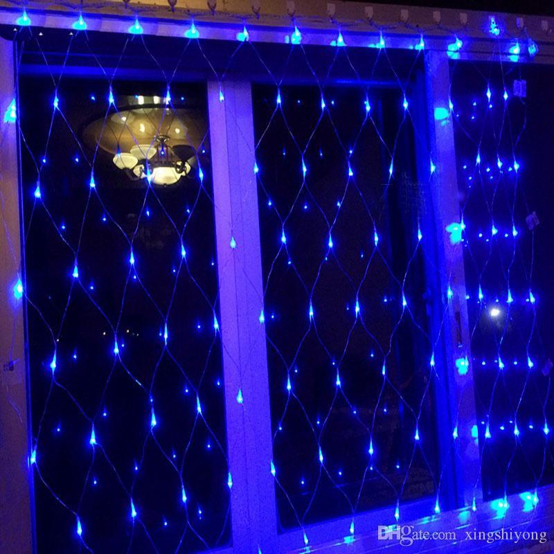 1.5 Mx1.5 M 96 Lâmpada LED Rede De Pesca De Malha de Fadas de Corda Net Luzes de Teto de Festa de Natal de Casamento Decoração Ao Ar Livre 110 V-220 V EUA DA UE AU REINO UNIDO