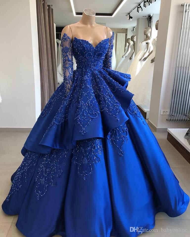 الأزرق الملكي الطبقات الكرة بثوب فساتين Quinceanera يزين مطرز البراقة الرسمي مسابقة فساتين السهرة فستان طويل الأكمام الحلو 16 اللباس