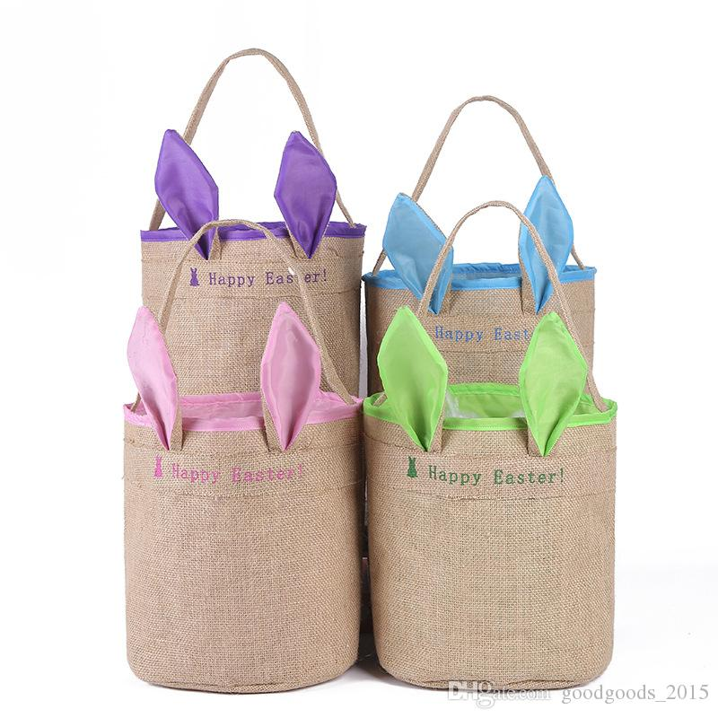 Easter Bunny Ear Gift Bag Happy Easter Decorations For Home Cute Rabbit Ear Jute Basket Bag Easter Party Supplies DL017