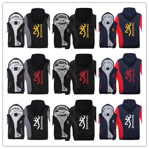 Acheter Sweat À Capuche En Hiver Logo Browning Imprimé Hommes Femmes Warm Thicken Hoodies Vêtements D'automne Pulls Molletonnés Zipper Veste Polaire