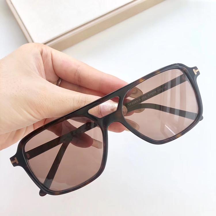 2020 nuevo marco de los vidrios tf5585 piloto madera importada gafas de sol polarizadas gafas de sol rectangulares neutro paquete doble puente