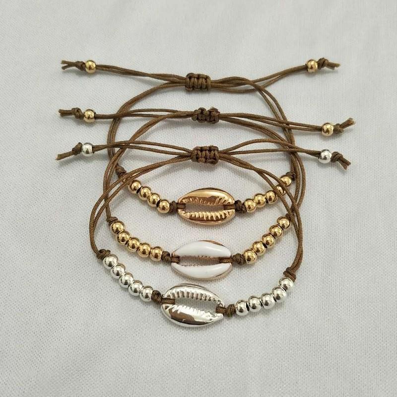 Gold Silber Farbe Kauri Muschel Bettelarmband für Frauen Perle Strang Armband Zarte Seil Kette Armbänder Böhmen Strand Schmuck
