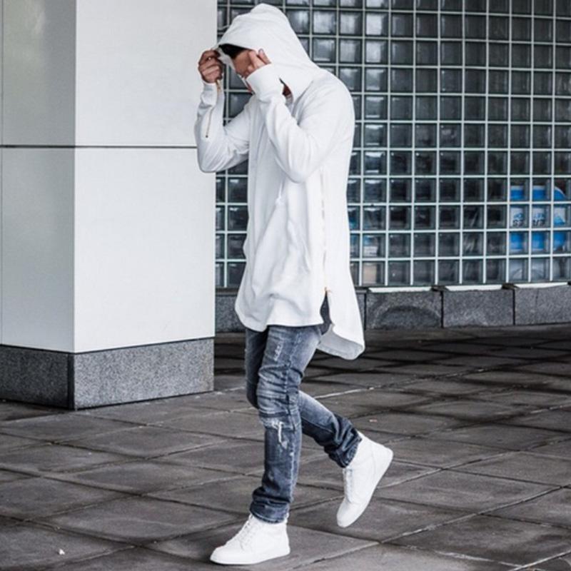 Mcckle İngiliz Stil Erkek Kapşonlu Tişörtlü Hipster Hip Hop Streetwear Altın Yan Fermuar Erkekler Ark Kesme Uzun Kollu Tişörtler Baskılı Extended