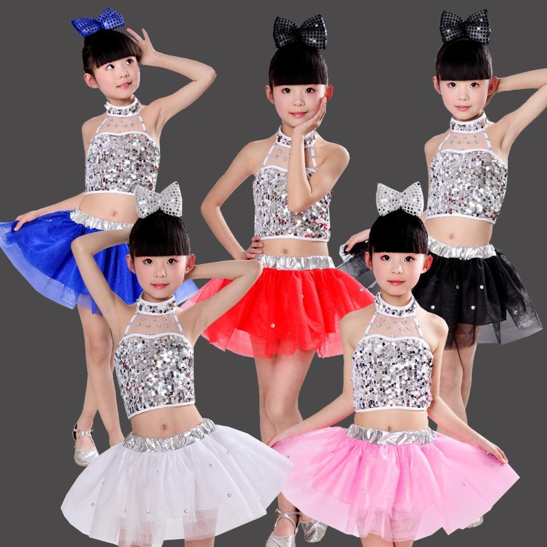 Bambini Costumi asilo ballo ragazze gonne soffici moderna danza jazz per bambini paillettes prestazioni clothin