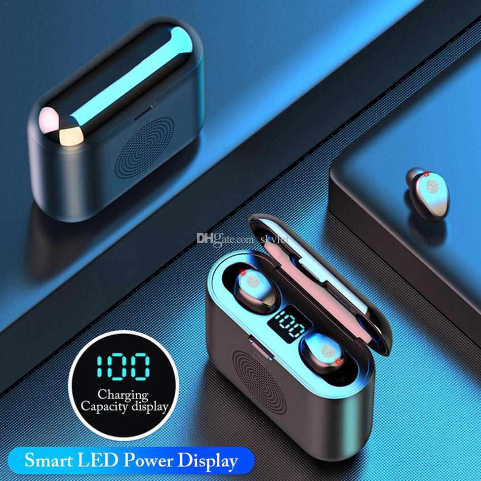 F9 2 in 1 Wireless Earphone Bluetooth Speaker Mini TWS Headphones LED Display Sports Stereo Wireless Headset with Surround Sound Speaker