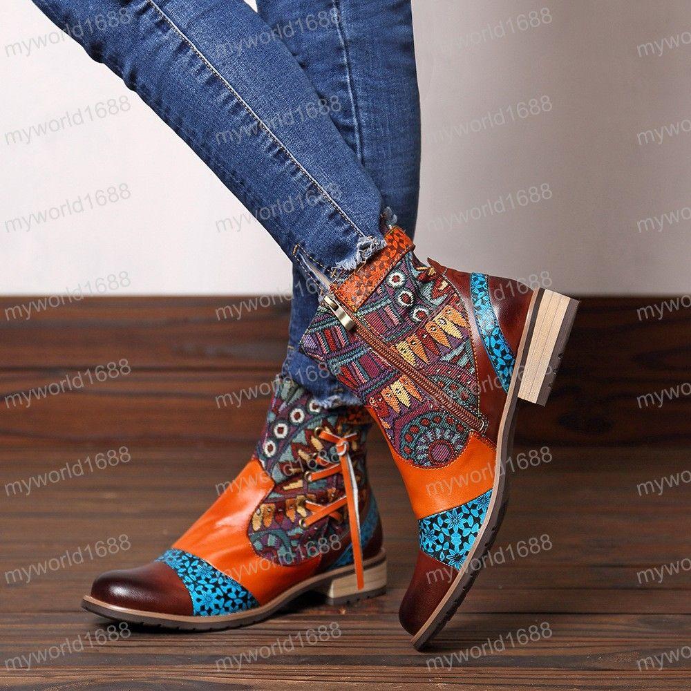 Натуральная кожа женщин сапоги Vintage Bohemian Ботильоны женские ботинки на молнии низкой пятки Женская обувь Женщина Осень загрузки