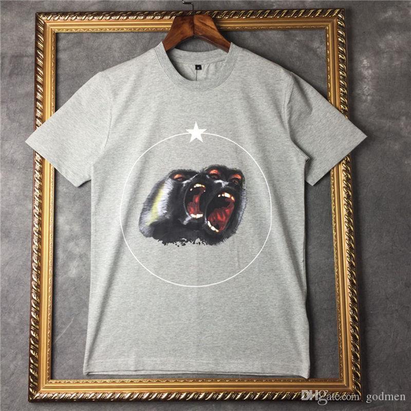 T shirt maglietta di estate del Mens di lusso del progettista donne degli uomini T shirt Hip Hop Dimensione Roar Orango Scimmia Circle stella manica corta S-XXL