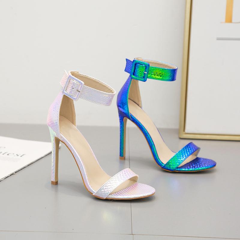 Hot scarpe da sposa blu cinturino alla caviglia donna progettista sandali tacco alto d'argento Vendita-sexy vengono con la scatola