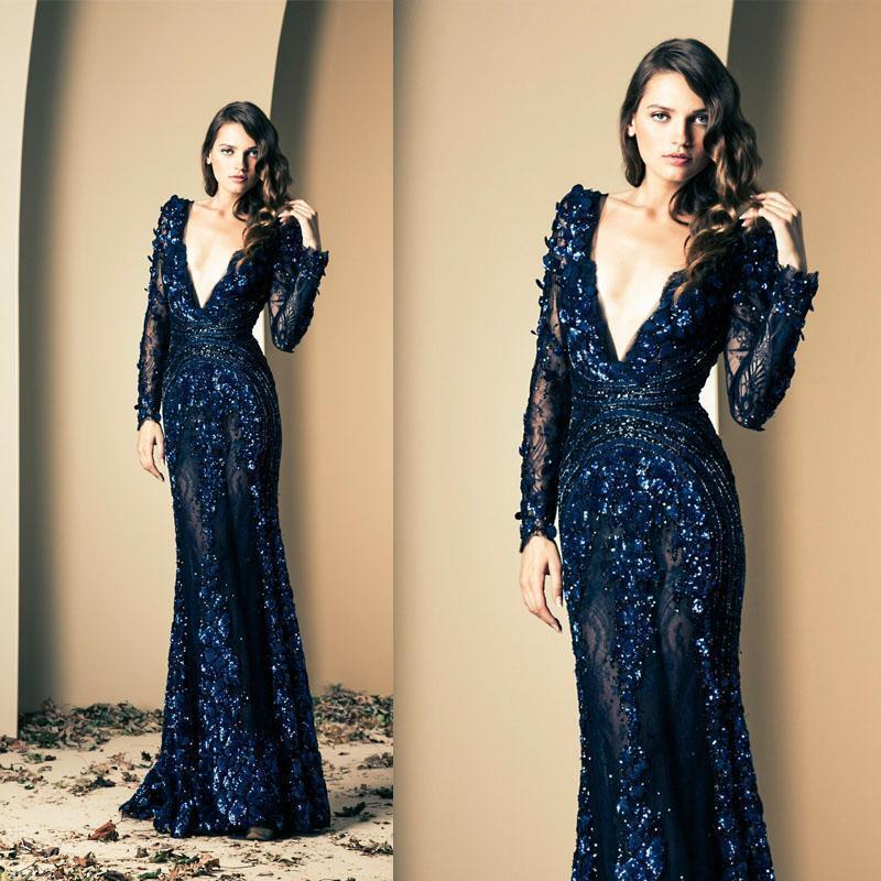 2020 Royal Blue Prom Vestidos cuello en V profundo flores hechas a mano larga de la manga una ilusión efímera sirena vestidos de noche del cordón largo