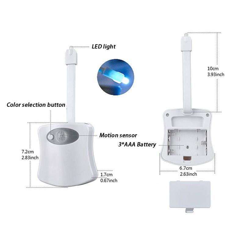 Smart Bad WC Nachtlicht LED Körper Bewegung Aktiviert on / Off Sitz Sensor Lampe 8 Farbe PIR WC Nachtlicht Lampe