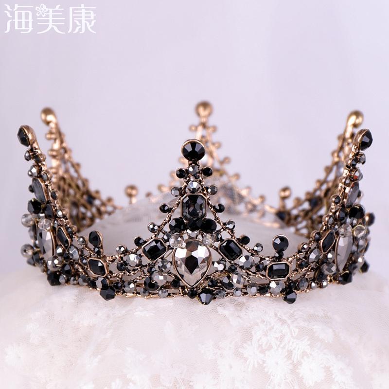 Haimeikang barocco Retro nuziale di cristallo nero Diademi Corone Principessa Queen strass Velo Tiara accessorio di cerimonia nuziale dei capelli