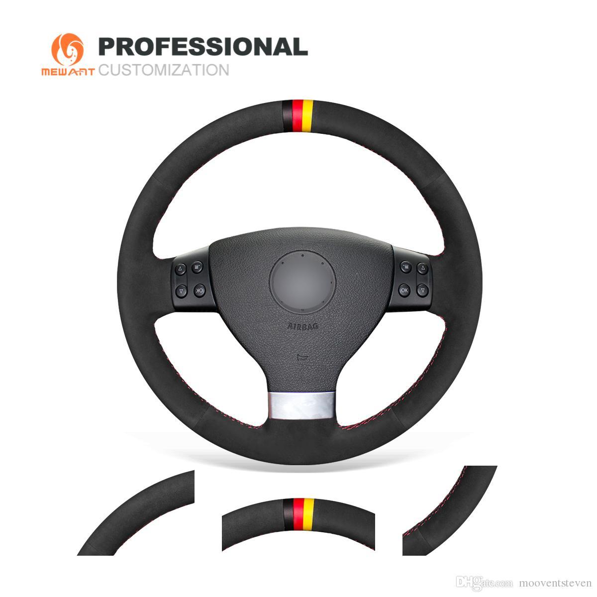 MEWANT Hand-stitched Black Suede Steering Wheel Cover Wrap for Volkswagen Golf 5 Mk5 VW Passat B6 Jetta 5 Mk5 Tiguan 2007-2011
