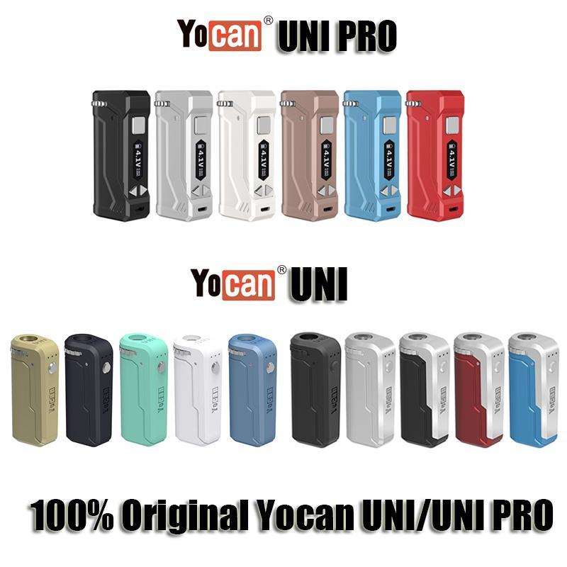 Orijinal Yocan UNI Pro Vape Kutusu Mod Takımı 650mA Onceden Değişken VV 2.0V 4.2V Pil E Sigara Vape Kalem Fit Tüm Vape Kartuş Stokta