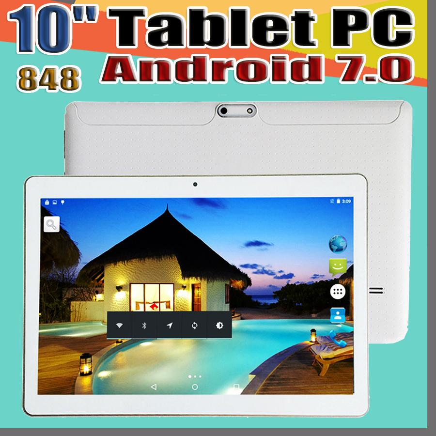 848 Arrival 10 Inch Tablet PC MTK6582 MTK6592 Octa Core Android 6.0 Tablet 4GB RAM 64GB ROM 5mp IPS Screen GPS 3G phone Tablets E-10PB