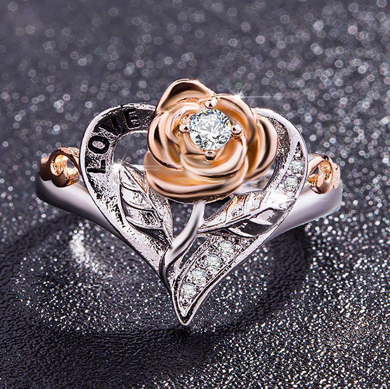 Romantique Qualité Bague pour Femmes or Rose Plaqué Zircone de Fiançailles