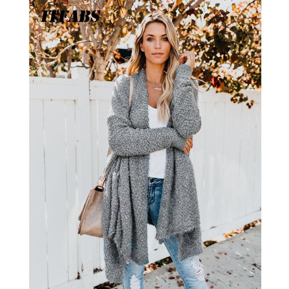 2019 Top Coat Chunky malha Oversized camisola Jumper Moda UK Womens Baggy Inverno Cardigan