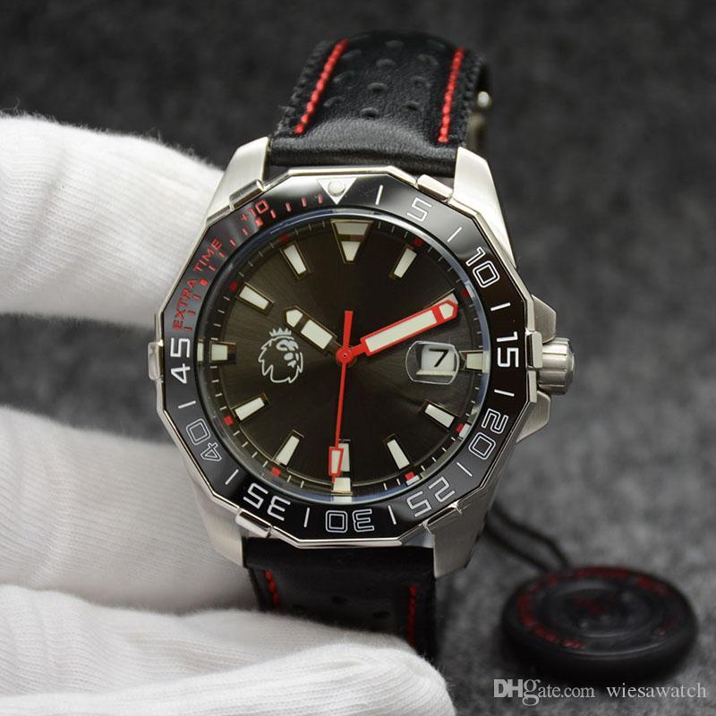 44MM Premiere League Specail Edição Mens Watch Relógios Movimento Automático Black Dial Com pulseira de couro preto