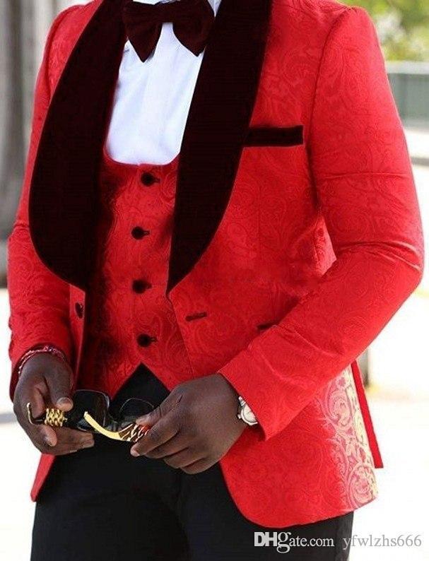Abiti da sposa Red Jacquard smoking Slim Fit per gli uomini Groomsmen abito a tre pezzi economici Prom abiti formali (Jacket + Pants + Vest + Tie) 246
