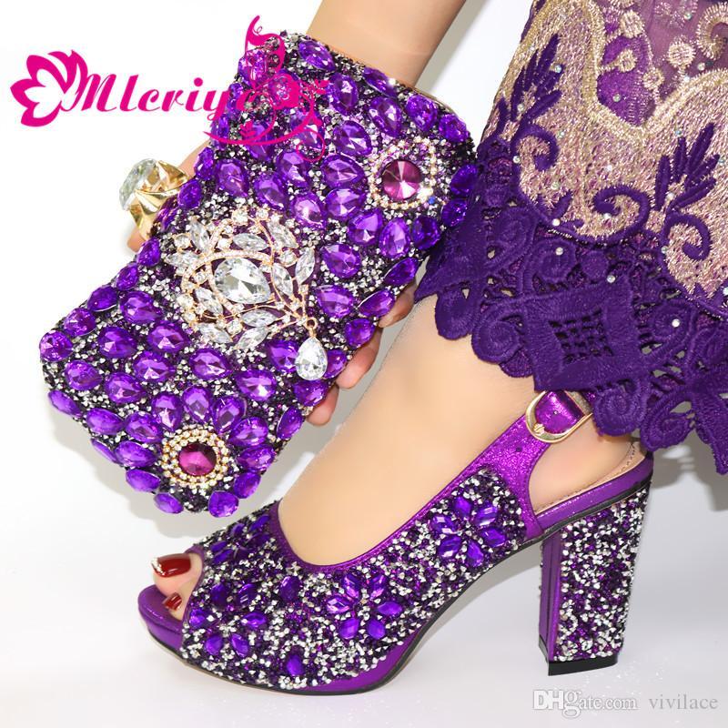Последние Matching обувь фиолетового цвета и сумка Установить Deorated с Rhinestone нигерийской обувью и сумка Набор для женщин Италии обуви и сумки