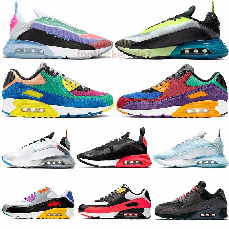 Yeni 2090 Kamuflaj Buharı Ördek Gerçek Vlot Saf Platin Ayakkabıları 90 30. Yıl Viotech Mixtape Siyah Beyaz Erkek Spor Sneakers Running Be