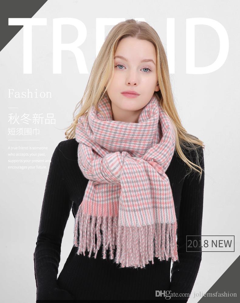 Женская клетчатую решетчатой решетки пашмины шарф из кашемира - как подарок дня акриловой мягкой Lady Рождественского подарка на день рождения подарок Валентина