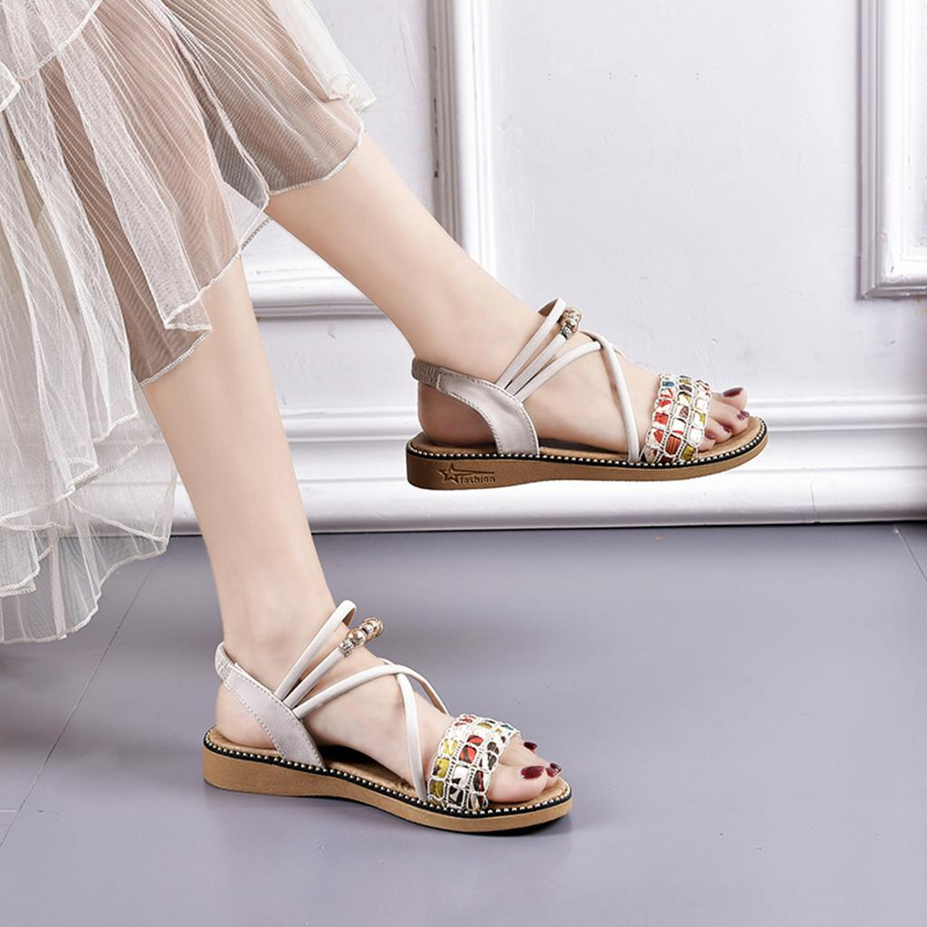 CHAMSGEND Hot Sale 2019 Summer Lady Roman Bohemian Rhinestone Wedges Fashion Open Toe Sandals Flat Sandals Beach Shoes