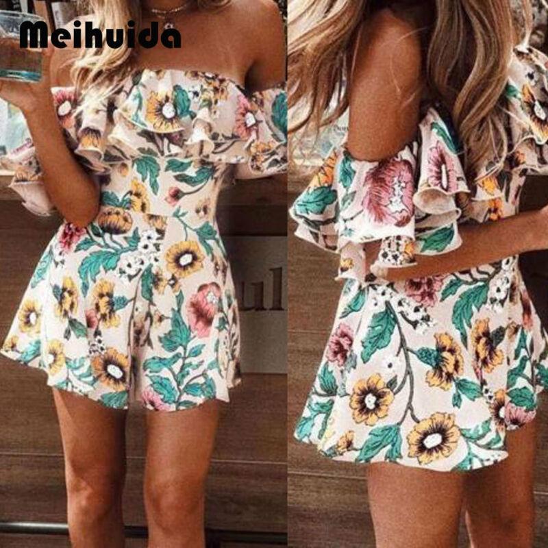 Boho Blumen Playsuit Frauen-Sommer-Off Schulter-Rüsche Bodycon Jumpsuit Kleid Strand beiläufig Shorts Partei T200528