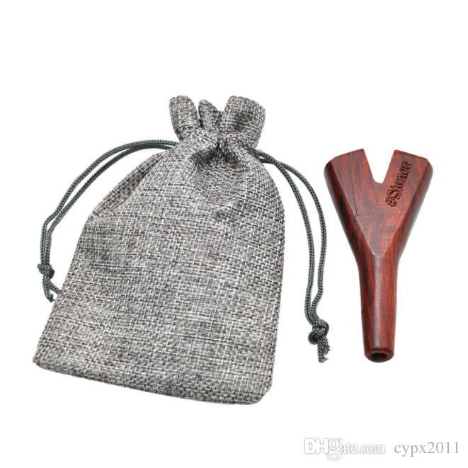 수제 나무 파이프 스트레이트 더블 홀 파이프 크리 에이 티브 캔버스 가방 포장 솔리드 우드 파이프