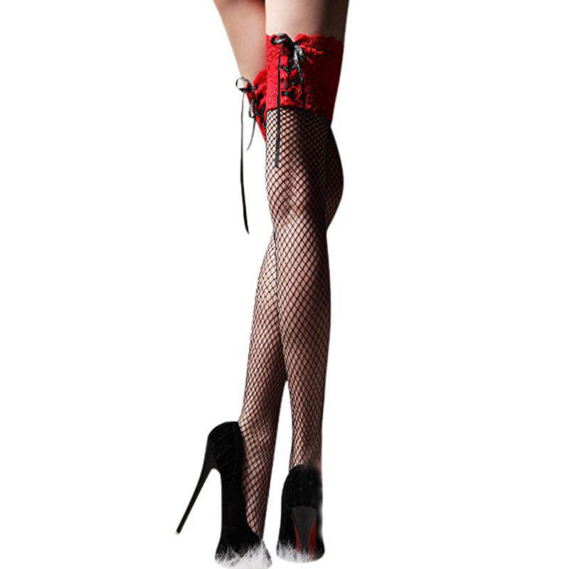 Women's Sexy Fishnet StockingThigh High Sheer Lace Top Sexy Stockings Hosiery Nets Stay Up For Women Female Stockings medias L*5