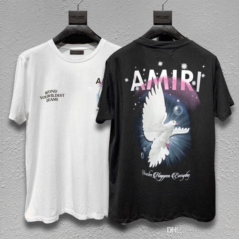 Европейская и американская уличная одежда Amiri мужская футболка с короткими рукавами и мирная голубь печать повседневная печать нищий футболка с короткими рукавами