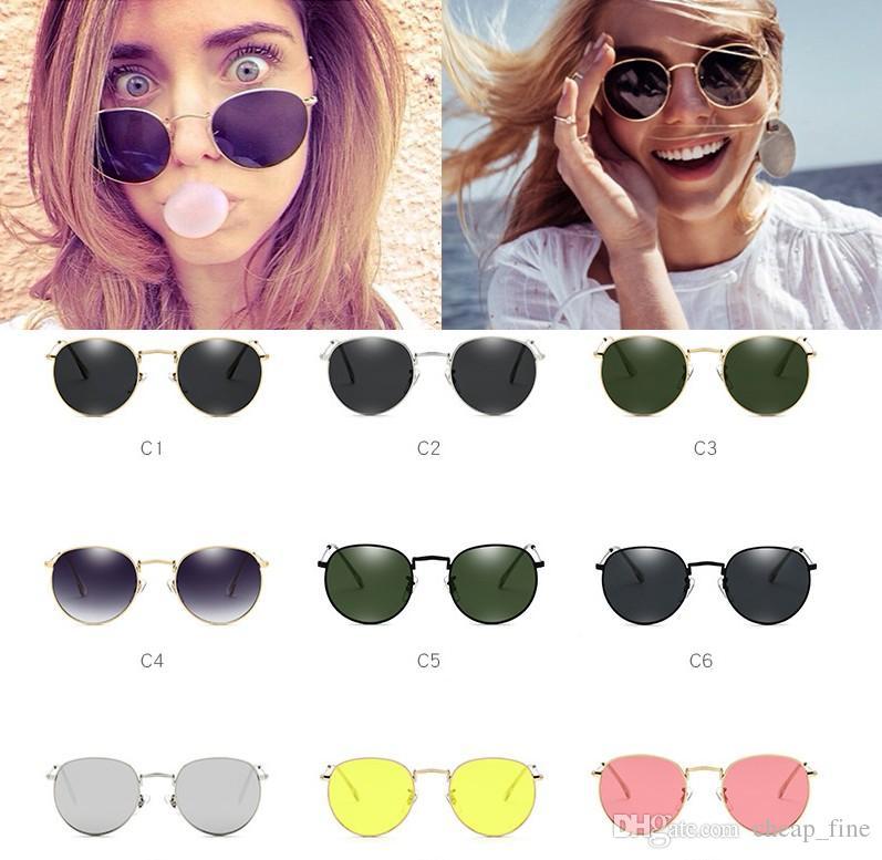 Красные солнцезащитные очки Женский женский дизайнер для желтых очков очки Sun Glasses Sun Женская сплава рамка 3447 ретро круглые зеркальные оттенки VXVUG