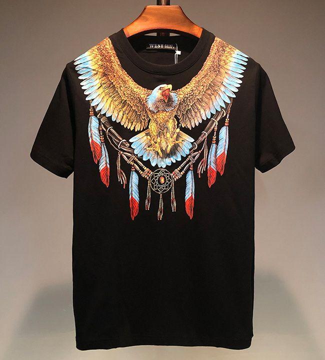 Luxury Designer T-shirt 2020 de haute qualité Hommes Femmes Eagle Feather Imprimer manches courtes T-shirt Coton Mode étudiant T-shirt T-shirts Undershirt