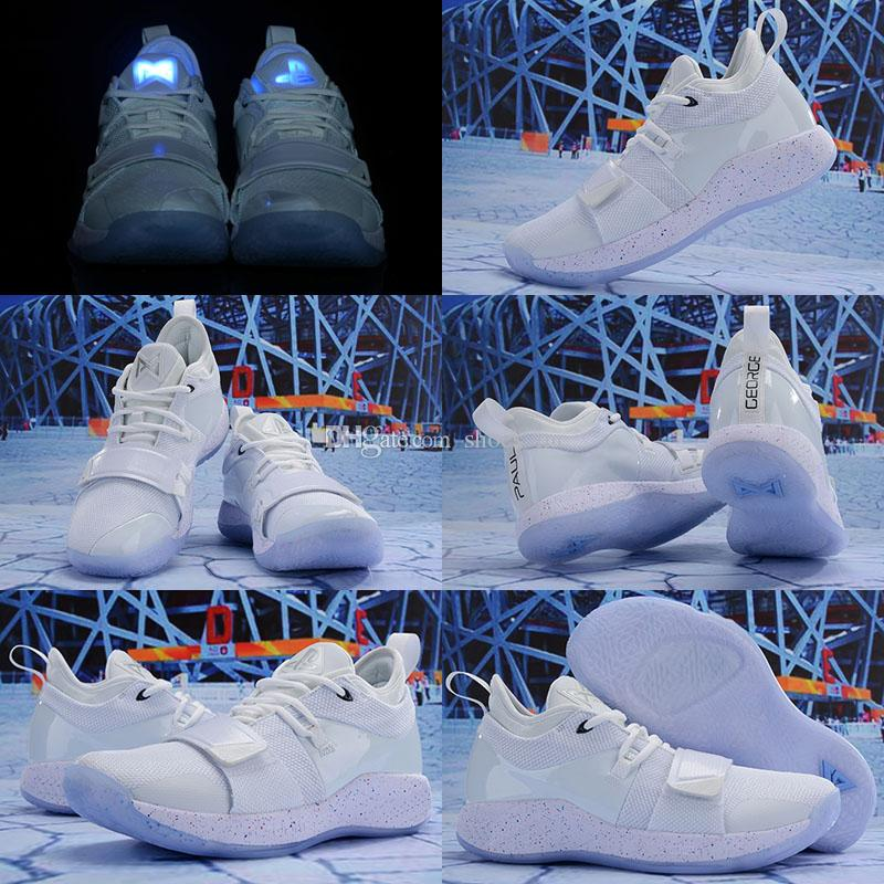 2019 NEW Men Playstation x PG 2.5 Basketball Shoes High Quality Paul George White Grey Athletic Shoes Size 7-12