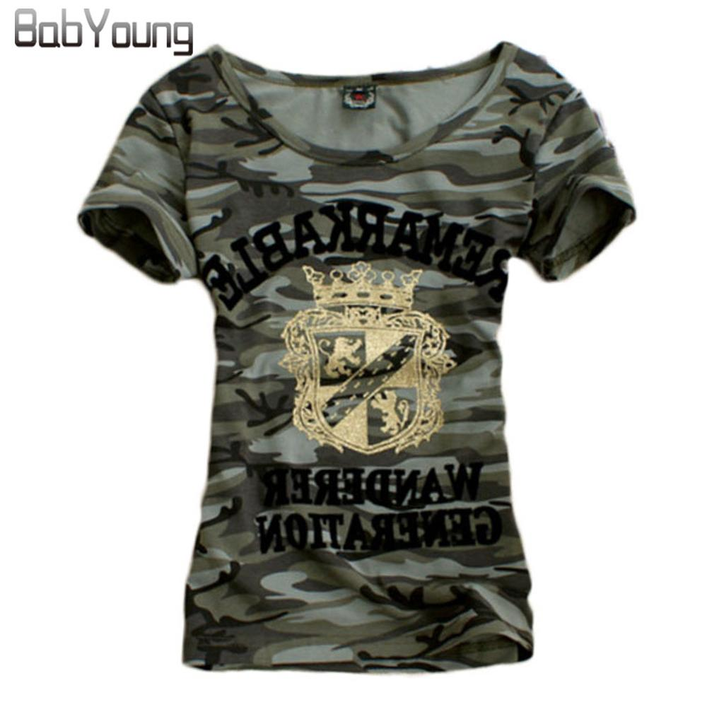 Babyoung Summer Tops Grown Pattern T Shirt Donna Army Camouflage Uniforme militare Tee Shirt Femme Plus Size Camisetas Mujer 4xl Y19051301