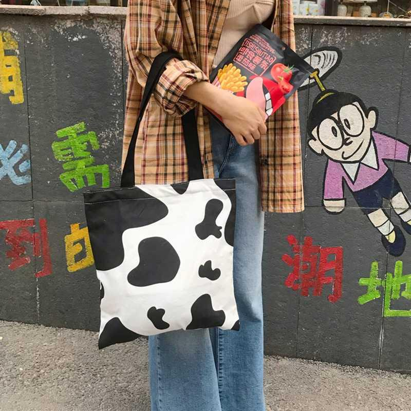 2020 Fashion Cute Cow Printing Canvas Casual Women Shoulder Bags Handbag Shopping Phone Purse Sac Bolsa Feminina