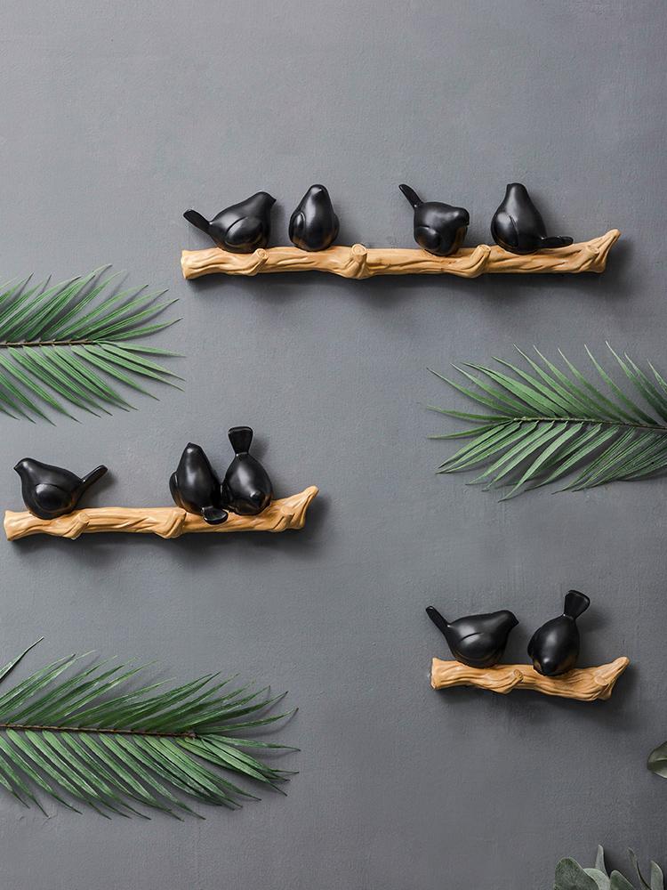 Gancho de pared tridimensional copas de los árboles de aves perforación libre de la tienda de ropa apropiado gancho sala de viento nórdico clave bolsa de ropa de pared