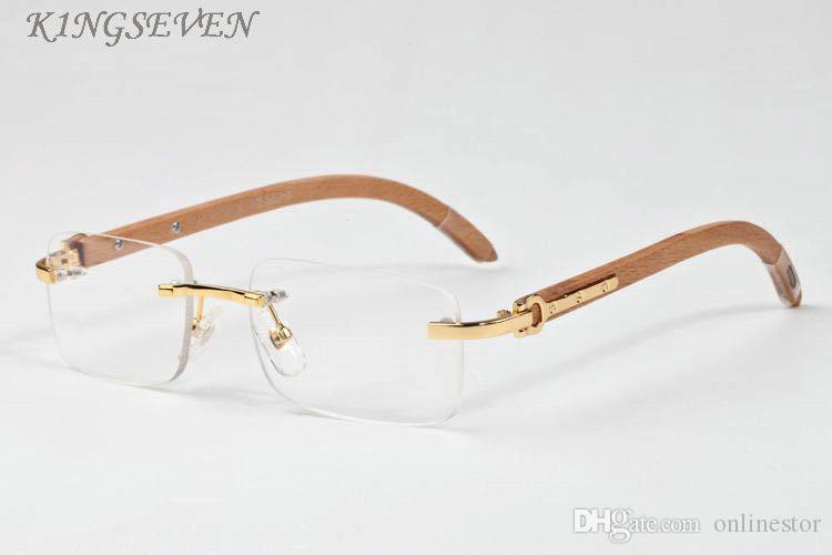 en kaliteli erkek güneş gözlükleri açık lensler moda Altın Metal Tapınaklar White Buffalo Horn Gözlük Kadınlar Gözlük Kadın Lunettes oculos De Sol